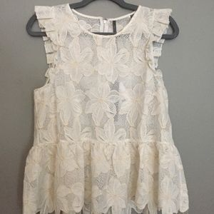 NWT Anthropologie Lace Peplum Top